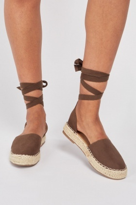 Suedette Lace Up Espadrilles