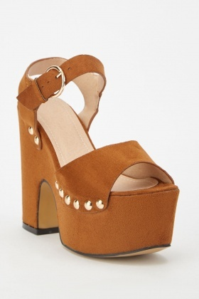 Suedette Studded Trim Chunky Sandals