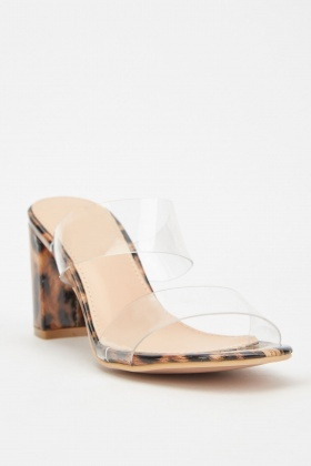 Transparent Strap Block Heel Sandals