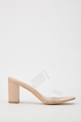 Transparent Strap Block Heeled Sandals