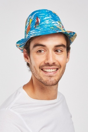 Tropical Beach Print Fedora Hat
