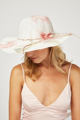 Delicate Flower Print Floppy Hat