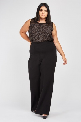 High Waist Straight Fit Trousers