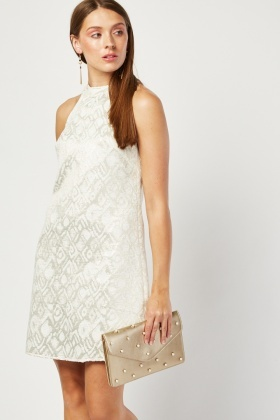 Jacquard Cord Contrast Halter Dress