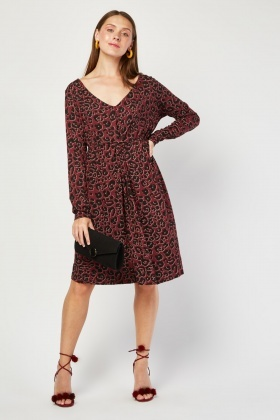 Knotted Leopard Print Midi Dress