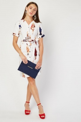 Novelty Print Belted Dress
