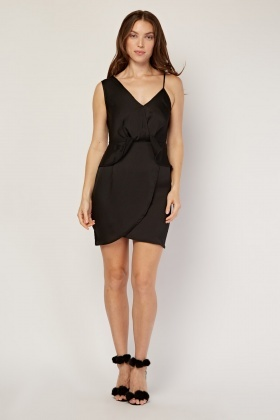 Peplum Front Sateen Slip Dress