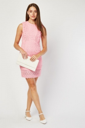 Pink Crochet Pattern Dress