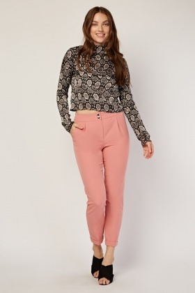 Pink Rolled Hem Tapered Trousers
