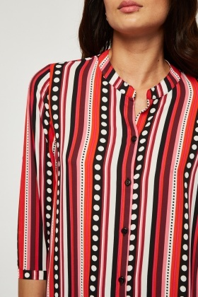Polka Dot Stripe Sheer Blouse