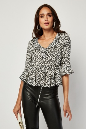 Printed Frilly Hem Blouse