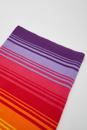 Rainbow Stripe Print Beach Towel