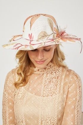 Ribbon Trim Lily Flower Print Hat