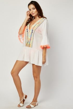Tie Up Embroidered Aztec Beach Dress