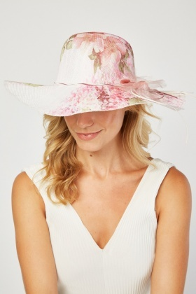 Tie Up Flower Trim Floppy Hat