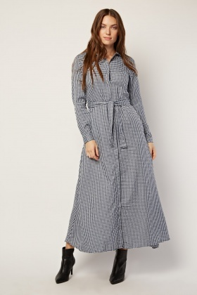 Tie Up Maxi Gingham Dress