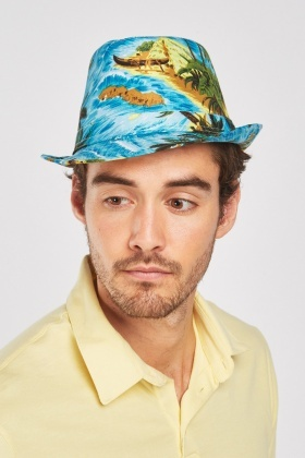 Tropical Hawaiian Print Trilby Hat