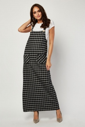 Windowpane Maxi Pinafore Dress