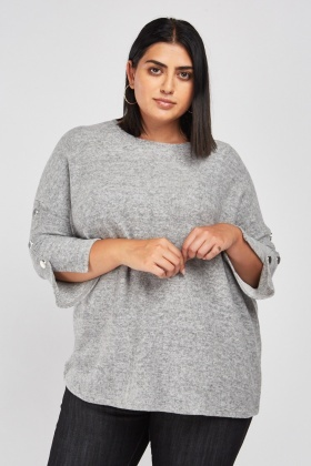 Button Trim Jersey Knit Jumper
