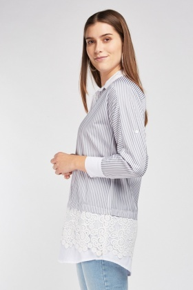 Crochet Hem Stripe Shirt