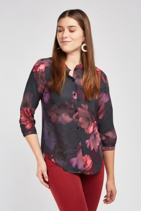 Large Flower Print Blouse