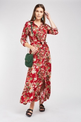 Leaf Floral Maxi Shirt Dress
