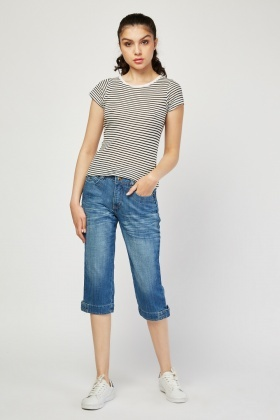 Low Waist Denim Pedal Pushers