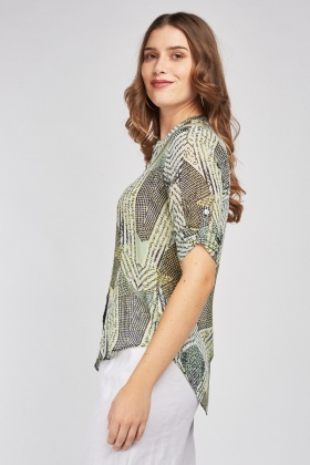 Mix Print Sheer Blouse