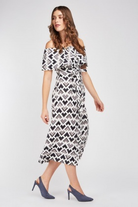Off Shoulder Geo Print Midi Dress