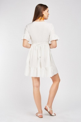 Ruffle Trim V-Neck Dress