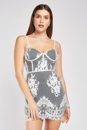 Sweetheart Lace Overlay Mini Dress