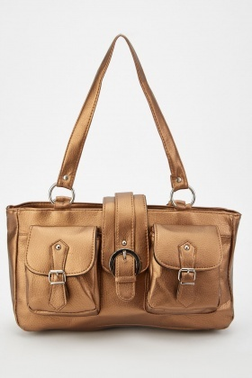 Bronze Buckle Pockets Shoulder Bag