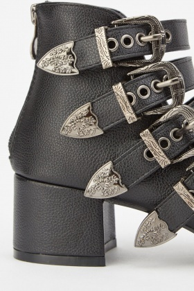 Buckled Cut Out Heeled Boots