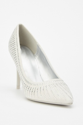 Encrusted Suedette Court Shoes