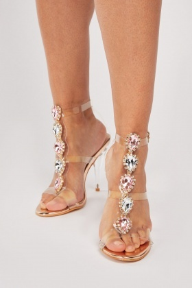 Gemstone Encrusted Heeled Sandals