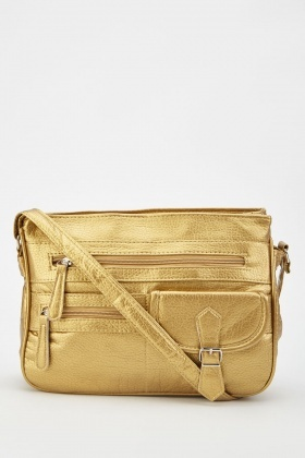 Gold Textured Shoulder Bag