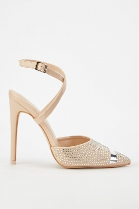 Sateen Encrusted Court Heels