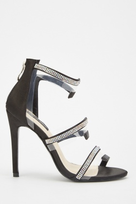 Sateen Encrusted Strappy Heel Sandals