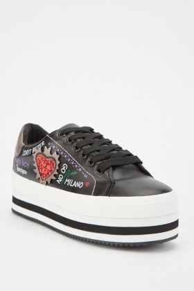 Sequin Embellished Side Platform Trainers
