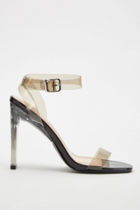 Transparent Strap Heeled Sandals