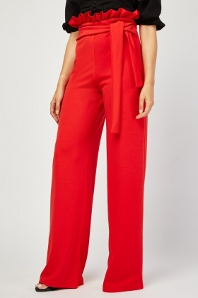 Belted High Waist Red Trousers