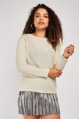 Button Trim Lurex Rib Knit Top