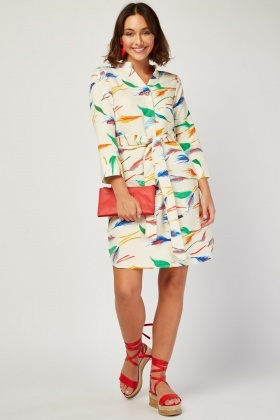 Feather Printed Tunic Dress