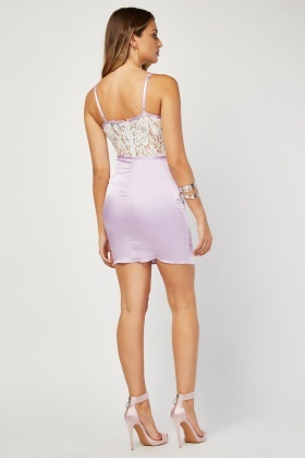 Lace Insert Sateen Slip Dress