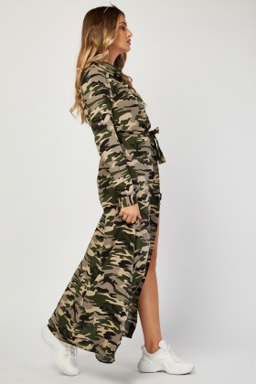 Long Sleeve Maxi Camo Dress