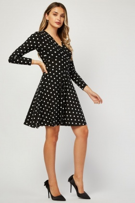 Long Sleeve Polka Dot Swing Dress