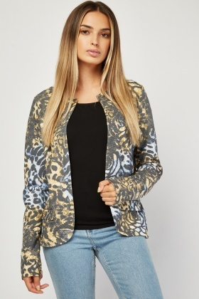 Open Front Animal Print Blazer