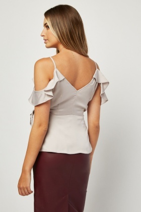 Ruffle Cold Shoulder Silky Blouse