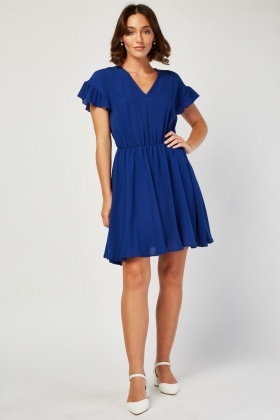Ruffle Sleeve Frilly Swing Dress