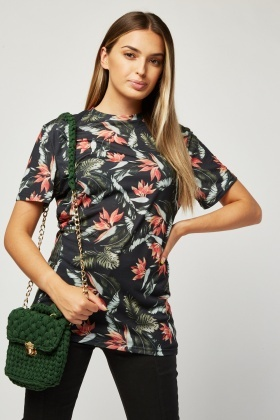 Short Sleeve Tropical Print T-Shirt